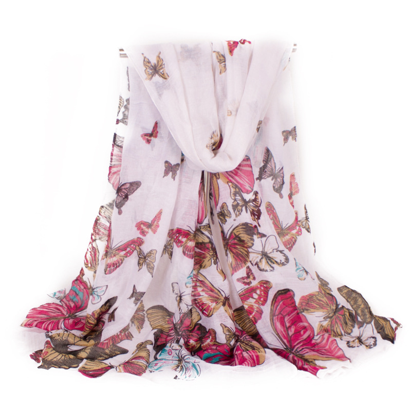 Delicate Female Good Gift New Scarf Women Animal Pastoral Butterfly Scarf Fashion Lady Gauze Kerchief Size180