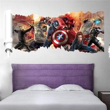 90*50cm newest impression 3D cartoon movie the Avengers Captain home decal wall sticker/boys love kids room decor child gifts(China (Mainland))