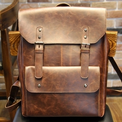 Leather bags 2015 new Korean wave retro package casual shoulder man bag backpack schoolbag crazy horse Travel Bags<br><br>Aliexpress