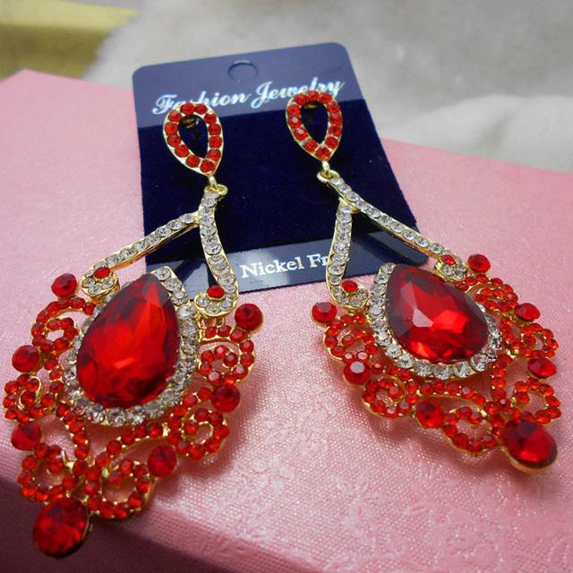 Букет женщины мотаться серьги-красный крюк кристалл серьги для женщин серьги ювелирных изделий свадьба