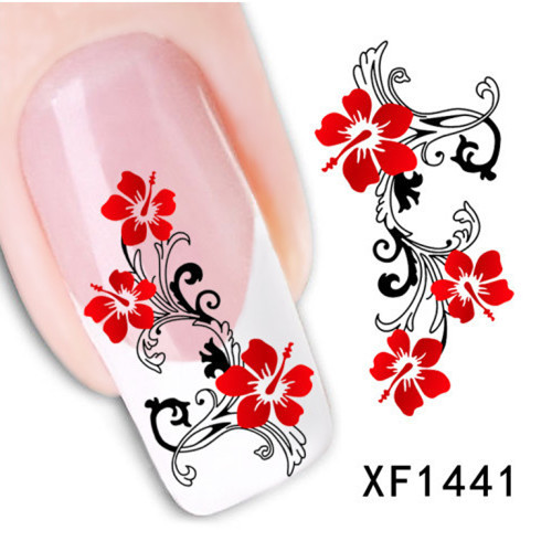 [T-XF1441]1 Sheet Water Transfer Nail Art Stickers Decal Beauty Cute Sexy Red Flowers Angel Design DIY French Manicure Tools(China (Mainland))