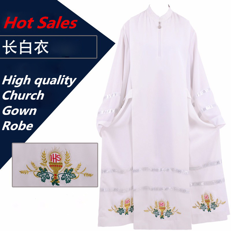 Vatican Cathedral Catholic Robe White Church Clergy Vestments Father Priest Chasuble Clerical Catholic Alb robe Church Worship(China (Mainland))