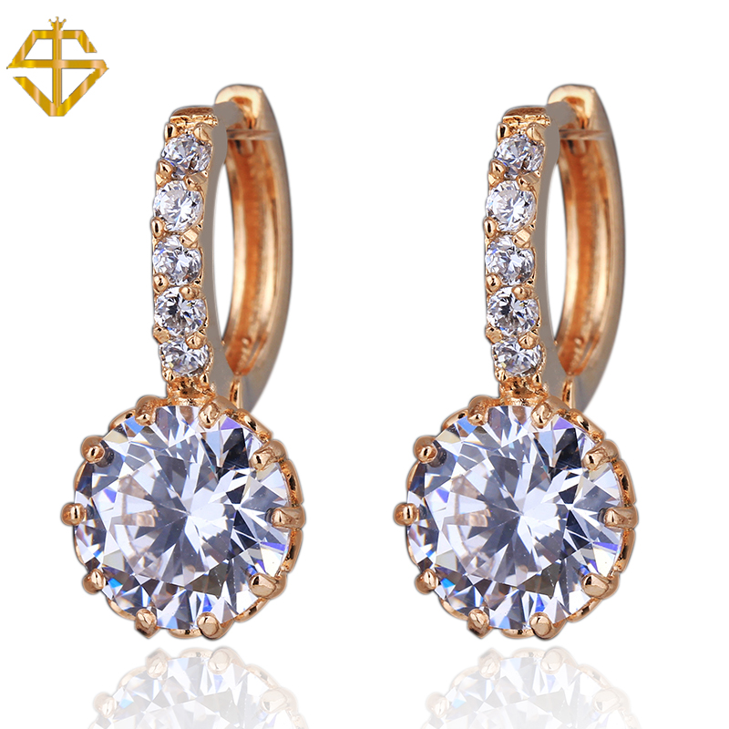 SI High Quality White Gold Plated Round Stone 2.75Carat Cubic Zirconia Stone Hoop channel earrings For Women Wedding(China (Mainland))