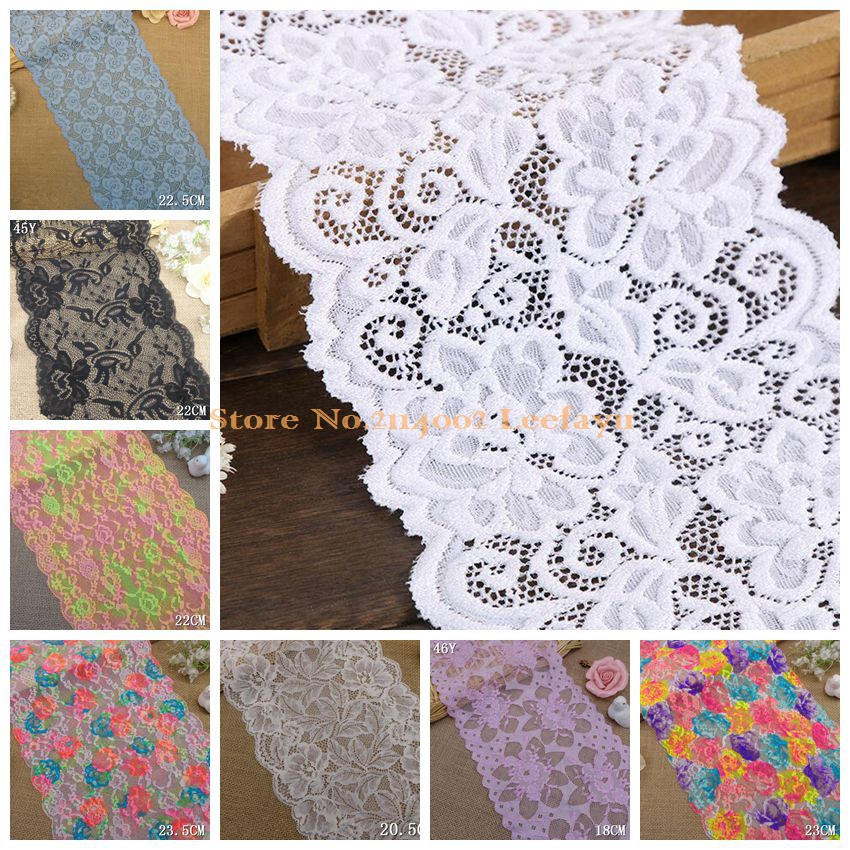 17 Styles Over 20CM Width Stretch Elastic Lace Flower Nylon Spandex Lace Trims Apparel Sewing Fabric Garment Accessories(China (Mainland))