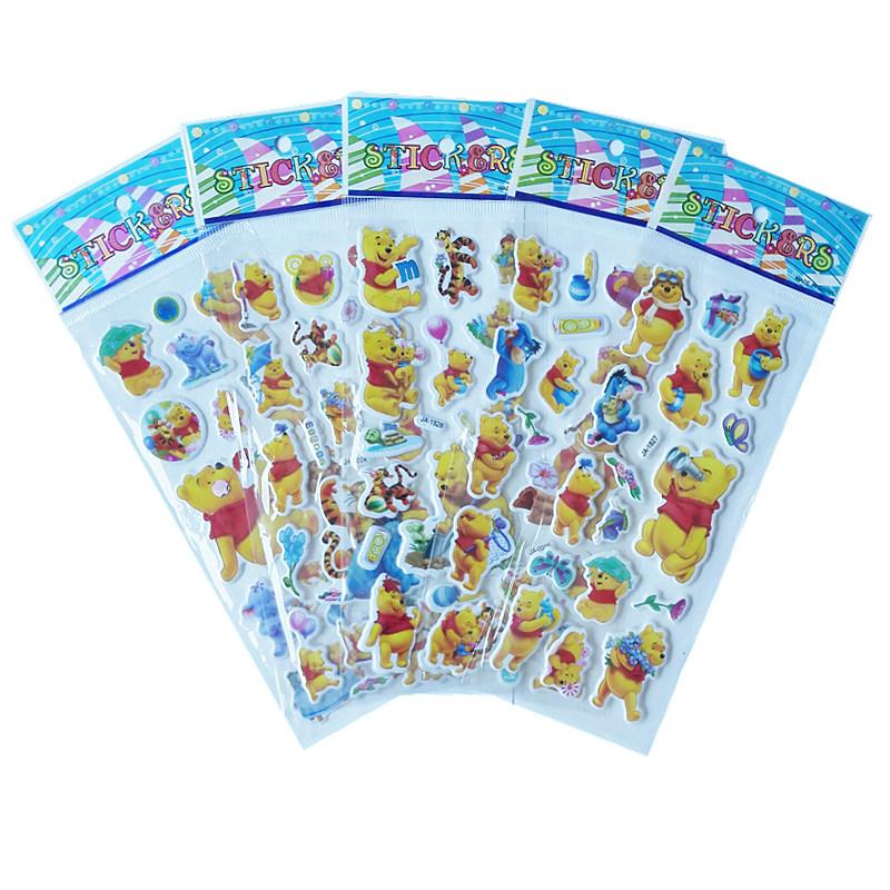 Bubble stickers 5 Sheets/Set Mixed Winnie 3D Foam Cartoon Kids Cute Stickers Puffy Stickers Children DIY Toys Birthday Gift(China (Mainland))