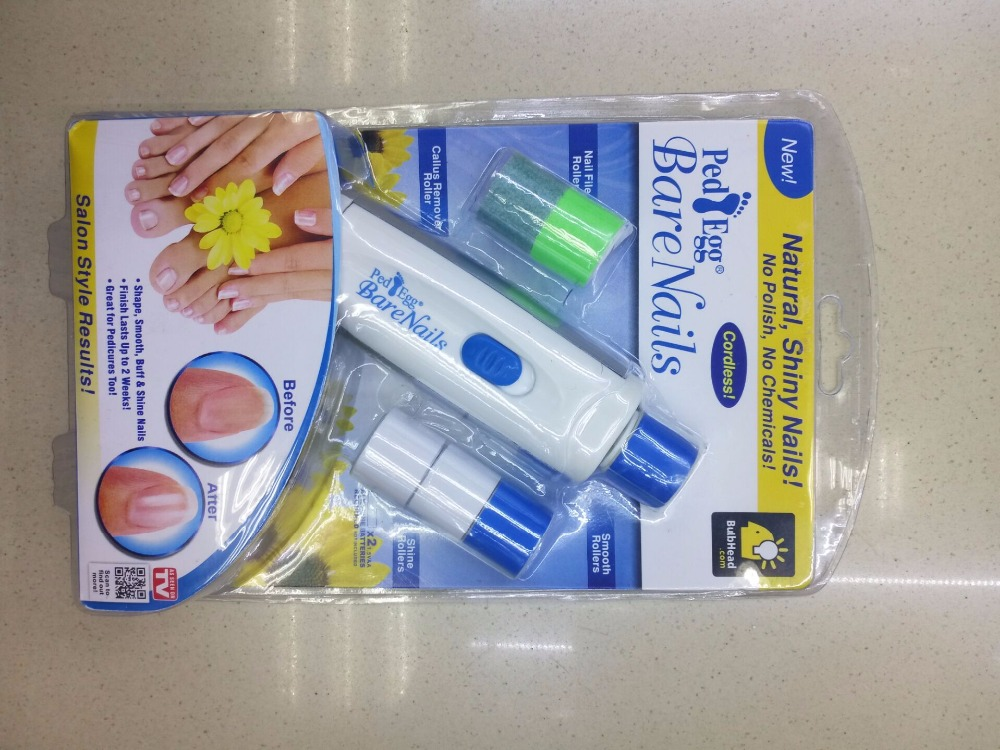 As Seen On TV Pedi Bare Nails Egg Electronic Nail Care System - Buff & Shine Nails(China (Mainland))