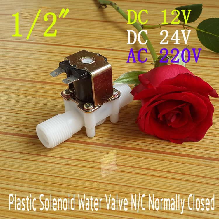 "Plastic Electric 12V 24V 220V Water Solenoid Valve DC 1/2"" N/C Normally Closed Inlet Flow Control DC/AC(China (Mainland))"