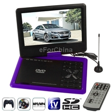 Purple NS-959 9.5 inch TFT LCD Screen Digital Multimedia Portable DVD with TV (PAL / NTSC / SECAM) / Game Function(China (Mainland))