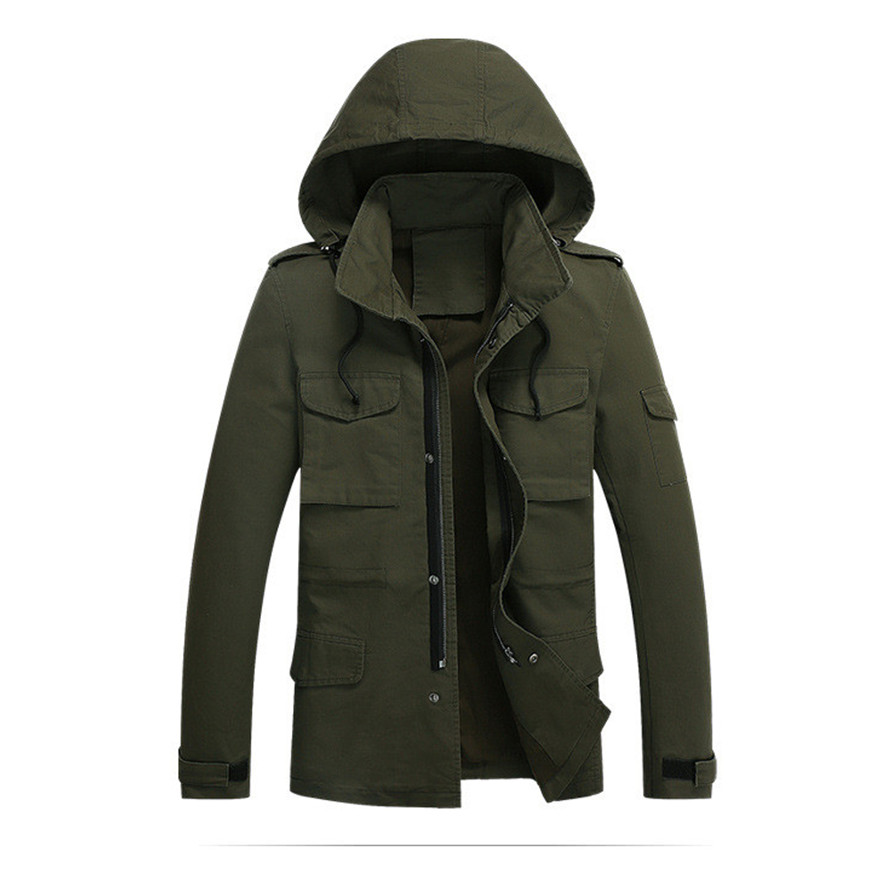 Military Jacket Men 2015 New Autumn Winter Menu0026#39;s Stylish Jackets Cotton Outdoors Hooded Collar ...