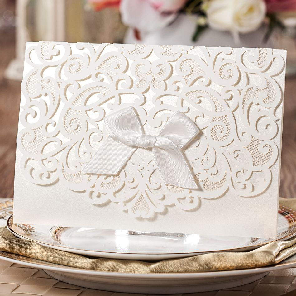 Elegant White Laser Cut Floral Free Personalized Printing Wedding Invitation Cards Envelope 5 - Paper Spiritz store