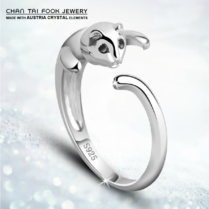 Free Shipping new women Fashion cute cool cat Hello Kitty 925 Sterling Silver Rings jewelry for women gift R2001(China (Mainland))