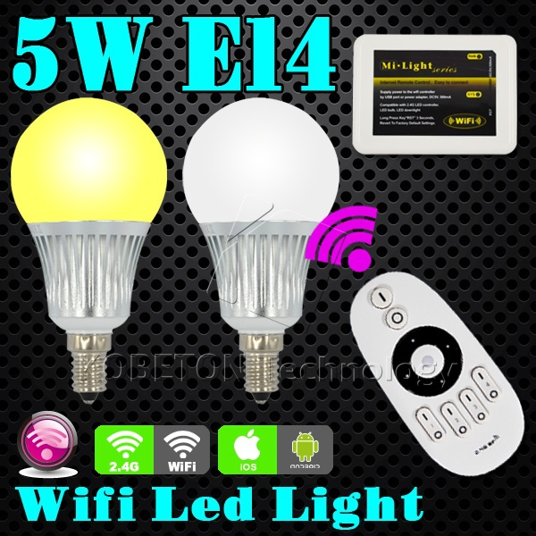 WiFi E14 5W LED Bulb 2.4G Wireless Remote Control Lamp Dimmable Brightness Temperature Adjustable 110V-220V for iphone Android(China (Mainland))