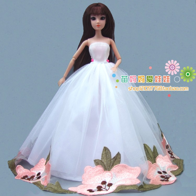 free delivery 1 items massive white wedding ceremony costume for barbie doll women present toys present for kids