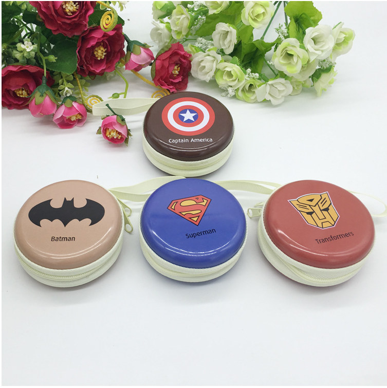 Captain America Batman Superman Cartoon Tin Zipper Storage Box Headset Bag Cable Organizer Jewelry Earring Makeup DecorativBoxes