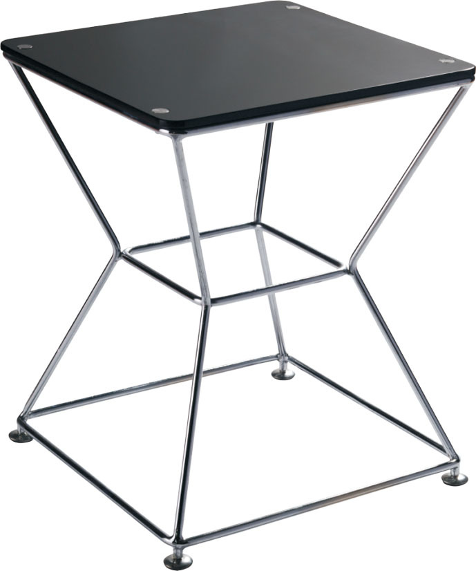 1 piece fashion design black color tempered glass chrome frame tea table(China (Mainland))