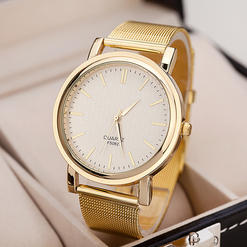 2016 New Brand Gold Fashion Casual Quartz Watch Women Dress Full Stainless Steel watches Metal Mesh Clock Wristwatch - Shine Factory store