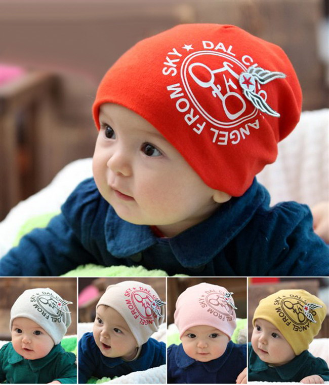 Newborn Baby Boy Girl Wings Cotton Beanie Cap Hat for 6-24 Months children's clothes accessories(China (Mainland))