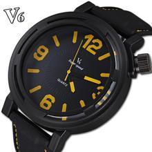 Famous brand V6 Men Outdoor Sport Casual Watch negro correas de silicona cuarzo analógico Reloj Deportivo Hombre macho regalo