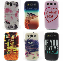 2015 Thin Slim Soft gel TPU Pink Flower Painted Phone Cases Back Cover For Samsung GALAXY S3 GT-i9300 9300 S3 NEO S3 Duos Case(China (Mainland))