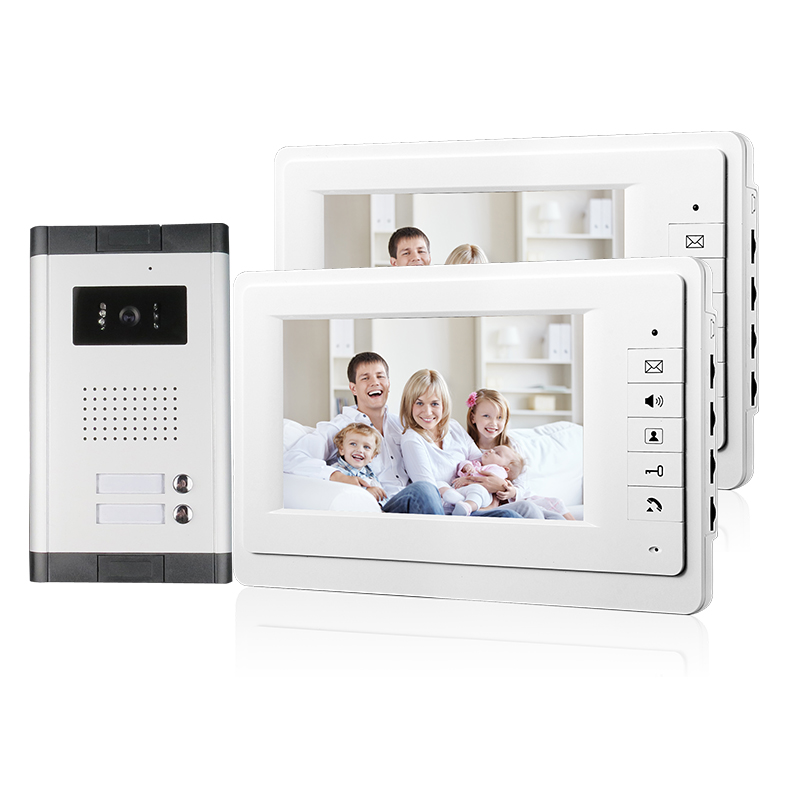 "FREE SHIPPING New 7"" Video Intercom Apartment Door Phone System 2 White Monitors 1 HD Camera for 2 Household In Stock Wholesale(China (Mainland))"