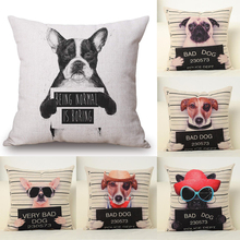 Cushion Cover Funny Bad Dog Pillow Animal Decorative Throw Pillow Cover Living Room Home Cotton Linen Cushion Cartoon Dog(China (Mainland))