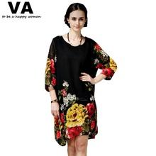 Women Summer Dress 2014 Fashion New Casual Chiffon Black Pint Vestidos Big Plus Size Women Clothing XXXL XXL With Belt