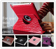 Hot sell Magnetic Smart Cover Leather Case for ipad mini ipad mini 2 ipad mini 3 cover with 360 Degrees Rotating Stand Wholesale(China (Mainland))