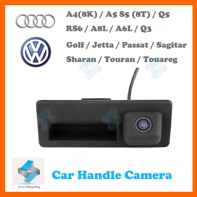 HD reverse rear camera for Audi A4 A5 S5 Q5 VW Passat Tiguan Golf Passat Touran Jetta Sharan Touareg car trunk handle camera(China (Mainland))