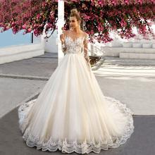 Buy Sexy Long Sleeves Wedding Dresses 2017 A-Line Lace Applique Bridal Gown Boho Wedding Dress Long Vestido de Novia Encaje EV1 for $256.99 in AliExpress store