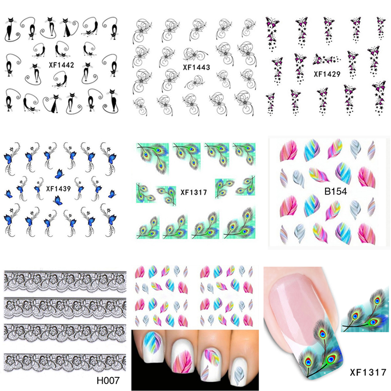 7Pcs Mix Color 3D Nail Stickers Water Stickers For Nails Art Decoration Water Transfer Nail Sticker Ongles Manicure Beauty Tools(China (Mainland))