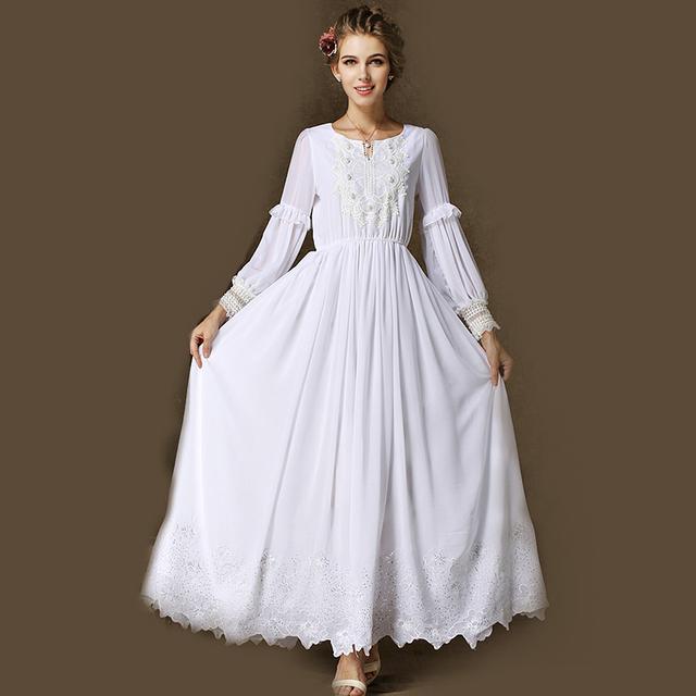Long sleeve white vintage dress