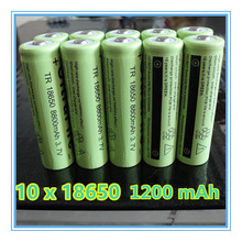 New 10x 18650 rechargeable battery 3.7v 1200 mAh Lithium li-ion battery for led Flashlight 18650 battery Free shipping wholesale