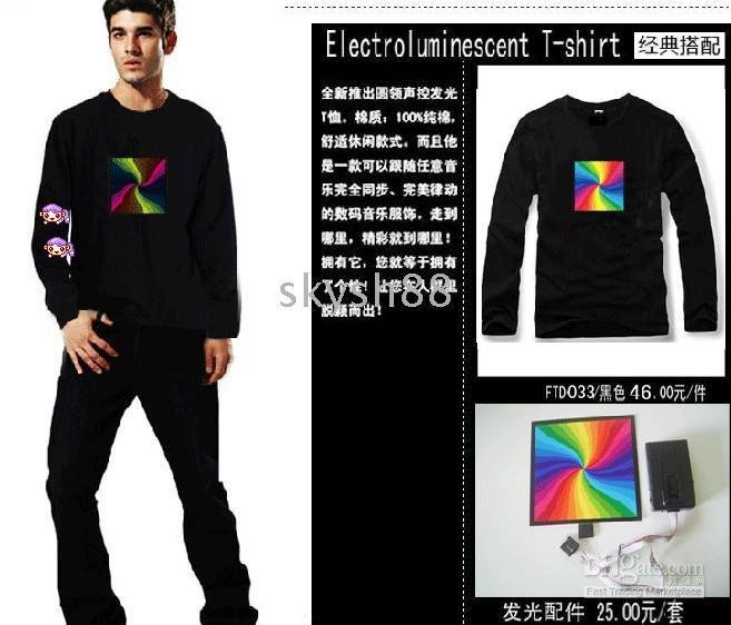 2015 Sale Sound Activated LED T Shirt Light Up Flashing Equalizer EL LED T-Shirt Men for Rock Disco Party DJ(China (Mainland))