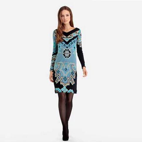Top Quality New Luxury European Fashion Style 2015 Autumn Women Runway Print Long Sleeve 100%Silk Jersey Stretch Plus Size Dress(China (Mainland))