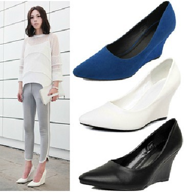 Freeshipping Nes Arrival Pointed Toe Dress High Heel Wedge Shoes Confortaboe Office Lady Pumps Shoes 3 Colors EUR35-39 C016-1<br><br>Aliexpress