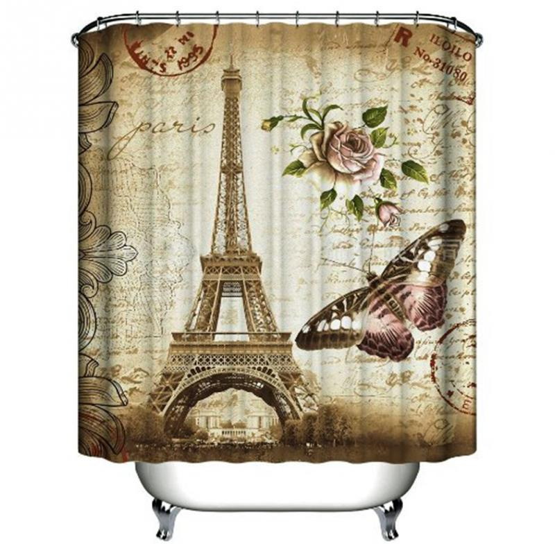 Paris Eiffel Tower Waterproof Kids Bathroom Shower Curtain