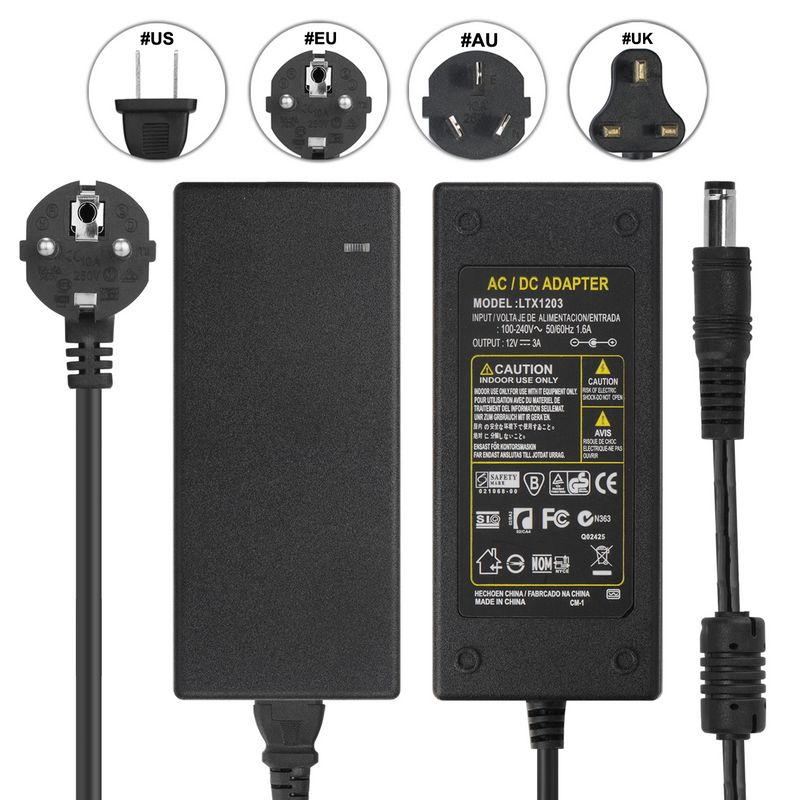 ( 20 pcs/lot ) DC12V 3A AC Adapter Power Supply + EU AC Power Cord Cable For 3528 5050 LED Strip Lighting LCD Monitor CCTV<br><br>Aliexpress