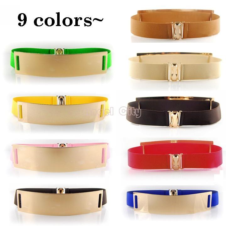 Elastic Mirror Metal Waist Belt Leather Metallic Bling Gold Plate Wide Belt for Women Accessories Dress 2014 New #10 SV001688(China (Mainland))