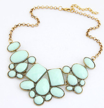 Star Jewelry 2014 New 5 Colors VinatgeJewelry Wholesale Gem Choker Charm Statement Retro Necklaces Pendants Gift