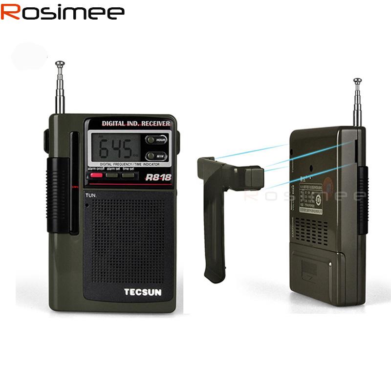 TECSUN Radio R-818 Radio FM/MW/SW Digital Radio Receiver Clock Alarm+External Antenna Portable Pocket Radio Station Y4138G R818(China (Mainland))
