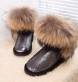 women winter 100 Real Fox Fur Genuine Leather Waterproof Women s Snow Shoes Cow Muscle Medium