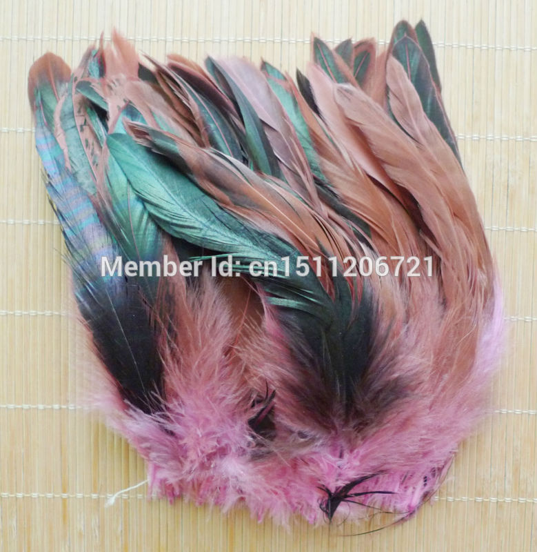 "Free shipping 200 pcs Attractive Pink color chicken feathers HOT SALE! 5-8""/12.5-20cm Rooster feathers(China (Mainland))"