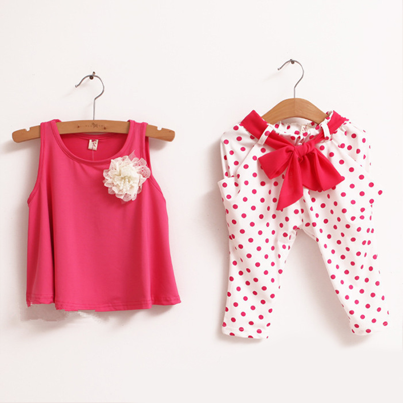 Summer style children flower female vest polka dot girl shirts Bowknot harem pants twinset Children s