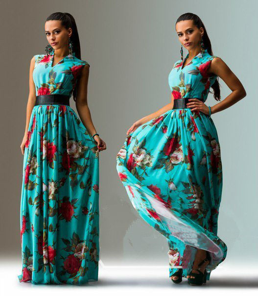 Женское платье Women summer maxi long floral print dress v/2015 LYE0237 женское платье c564 women summer print long dress2014dresses