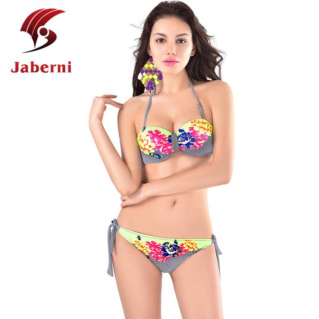 2016 женщины бикини повода цветочный купальник ретро повод росту бикини слинг полосы женщин-старинные купальники 3D Biquini