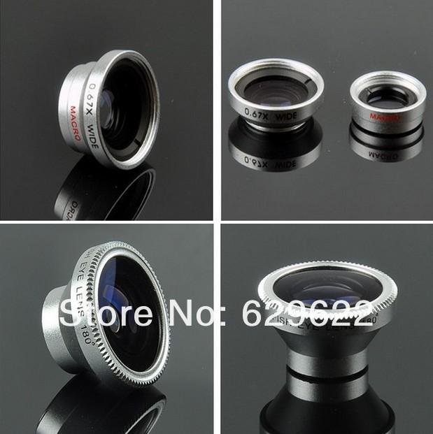 Free Shipment 3in1 Small Macro + Wide Angle + Fisheye Camera digital Detachable Lens kit For iPhone 4G Samsung Galaxy S3 CL-1-2(China (Mainland))