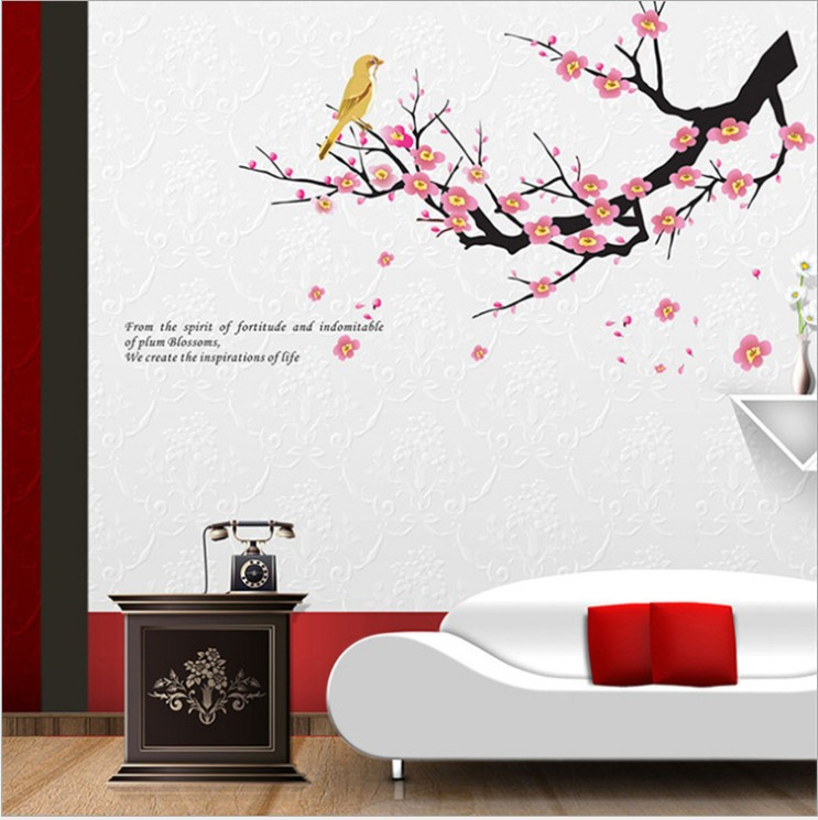Small sakura flower bedroom room vinyl decal art diy home decor wall sticker removable the real - Decorative wall sticker ...