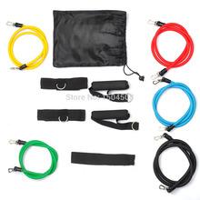 Free shipping 2015 NEW 11 Pcs Resistance Bands Set Tube Gym Exercise Set Yoga Fitness IR