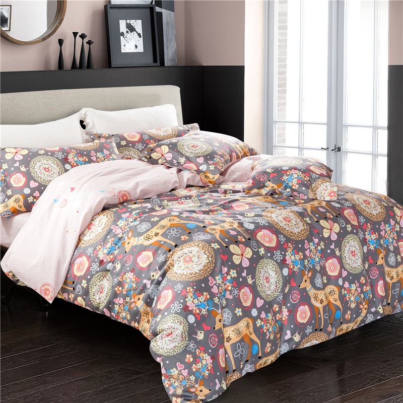 Elk merry christmas design bedding set queen king size (comforter case+flat bedsheet+pillowcases) 4pcs bed sets Fast shipping(China (Mainland))