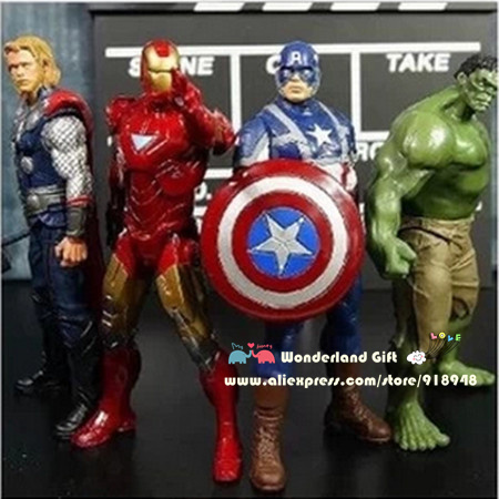 COOL 4pcs/set PVC figures,Iron man Thor Captain America heroes green giant select figures,action toys gift for boys,kids robots(China (Mainland))
